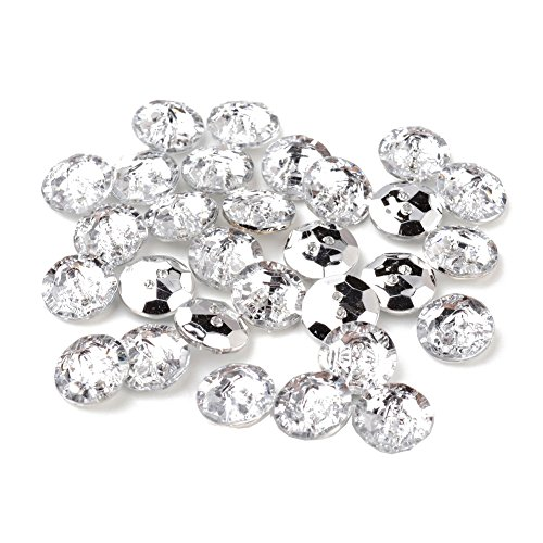 Pandahall 100pcs Acrylic Rhinestone Buttons, Sewing Fastening Buttons, 2-Hole, Faceted, Crystal, Hole 1mm (Flat Round) (Crystal Clothing compare prices)