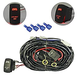 See mictuning HD 300w LED Light Bar Wiring Harness 40 Amp Relay ON-OFF Laser Rocker Switch Red(2Lead 14ft 16AWG) Details