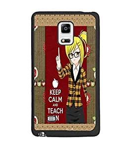 PrintDhaba Girl with Quote D-3021 Back Case Cover for SAMSUNG GALAXY NOTE 4 (Multi-Coloured)