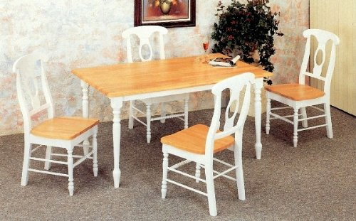 Buy Low Price Coaster 7pc White & Natural Dining Table & Napoleon Solid Wood Chairs Set (VF_dinset-4160-4117)
