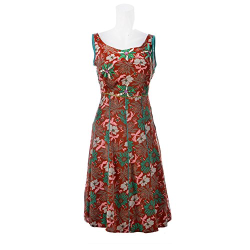 Aruna Singh Printed Dress In Brown And Green Polyester Dress For Women