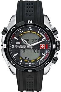 Swiss Military Hanowa - Reloj analógico y digital de cuarzo para hombre con correa de plástico, color negro