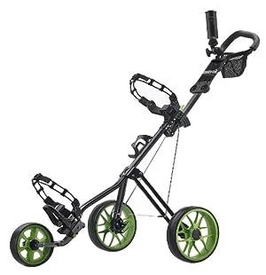 CaddyTek SuperLite Deluxe Golf Push Cart, Black/Green