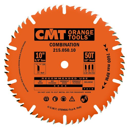 CMT 215.050.10 Industrial Combination Saw Blade, 10-Inch X 50 Teeth ATB+TCG, 5/8-Inch Bore, PTFE Coating