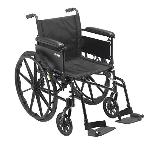 Drive Medical Cruiser X4 Lightweight Dual Axle Wheelchair with Adjustable Full Arms Seat with Swing Away Footrests, Silver Vein, 16 Inch (Carbon Wheelchair compare prices)