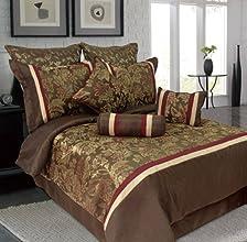 9 Piece Queen Senole Jacquard Bedding Comforter Set