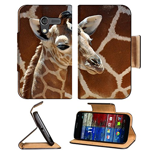 Giraffe Small Calf Face Pattern Cute Baby Africa Wildlife Animal Motorola Moto X Flip Case Stand Magnetic Cover Open Ports Customized Made To Order Support Ready Premium Deluxe Pu Leather 5 7/16 Inch (138Mm) X 3 1/16 Inch (78Mm) X 9/16 Inch (14Mm) Luxlady front-61511