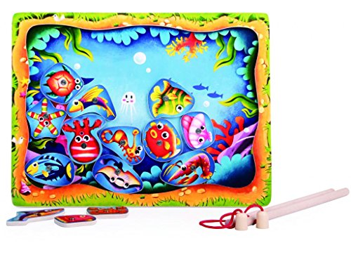TOPBRIGHT Wooden Magnetic Fishing Puzzle Play