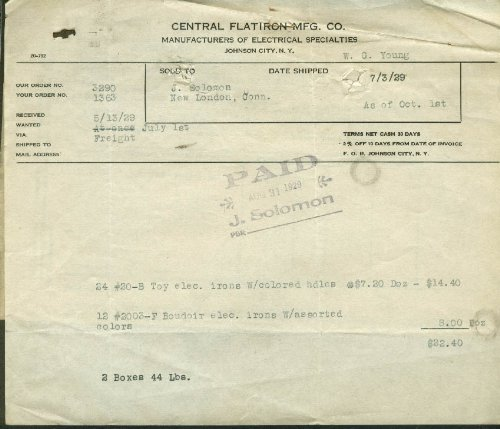 Central Flatiron Johnson City Ny Invoice 1929 Boudoir & Toy Electric Irons