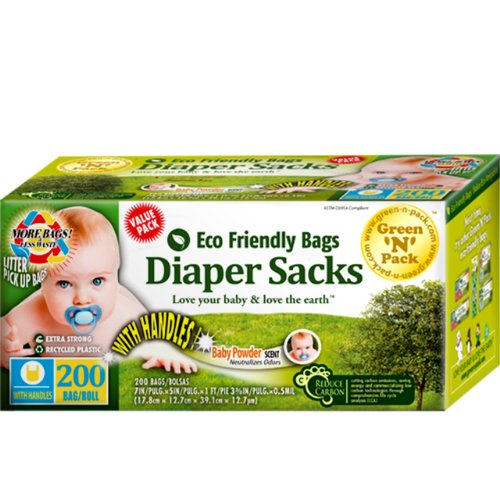 Green N Pack Easy-Tie Scented Baby Diaper Sacks / Diaper Bags 200-Count