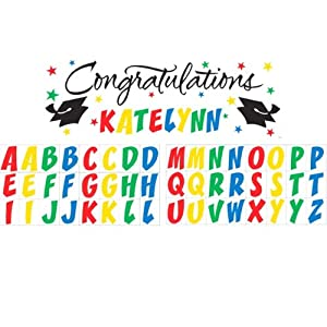 Creative Converting Classic Congratulations with Rainbow Stickers Paper Art Giant Fill-In Graduation Party Banner, 60 by 20-Inch by Creative Converting