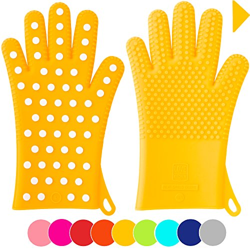 Holiday Sale! Heavy-Duty Women's Silicone Oven Mitts - Designed For Her, 2 Sizes - Great Christmas Gift for Mom - Gloves are Heat Resistant for Cooking, Grilling & Barbecue (1 Pair XS/S ,Yellow) (Extra Small Oven Gloves compare prices)