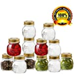 Bormioli Rocco Quattro Stagioni 12 Piece, 8.5 oz Glass Decorative Mason Jar Set for Canning / Spice / Jelly / Jam, Gift Boxed