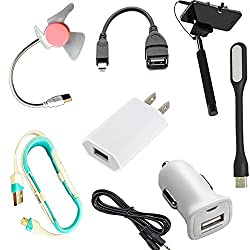selfie stic usb led light otg cable and 2 data cable combo