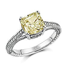 buy Canary Yellow Cubic Zirconia Sterling Silver Engagement Ring