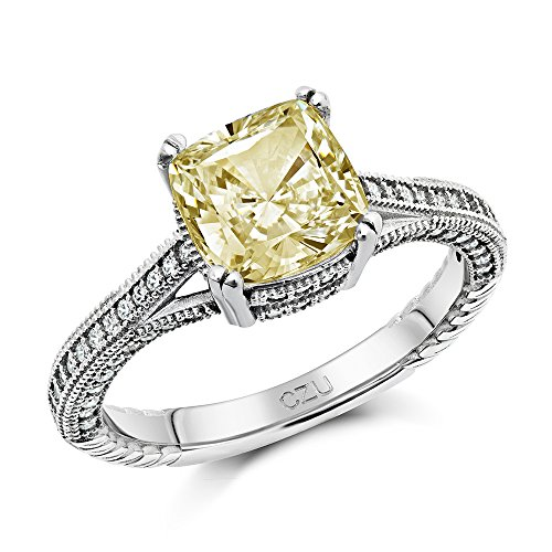 Canary Yellow Cubic Zirconia Sterling Silver Engagement Ring