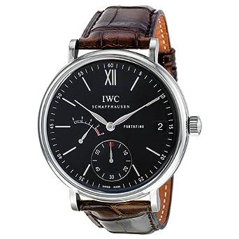 IWC Portofino Hand-Wound Eight Days Automatic Black Dial Mens Watch 5101-02