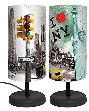 lampe abat jour i love new york h 29cm luminaires et eclairage. Black Bedroom Furniture Sets. Home Design Ideas
