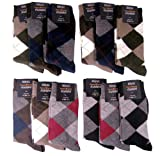 Mens Argyle Dress Socks Cotton Blend 12 Pair Sizes 9-11