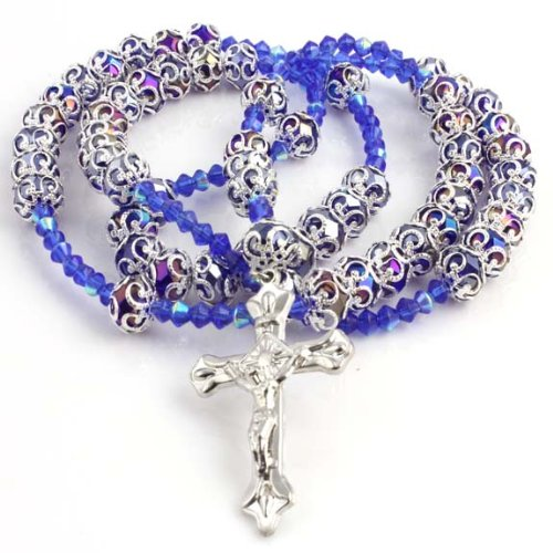 CATHOLIC CRUCIFIX BLUE DIAMOND CUT BEAD ROSARY SILVER DESIGN FINISH NECKLACE 40