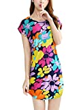 Women Pullover Raglan Sleeve Round Neck Floral Print Casual Dress