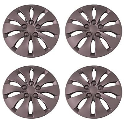 Set of 4 Silver 16 Inch Aftermarket Replacement Hubcaps with Metal Clip Retention System - Part Number: IWC439/16S