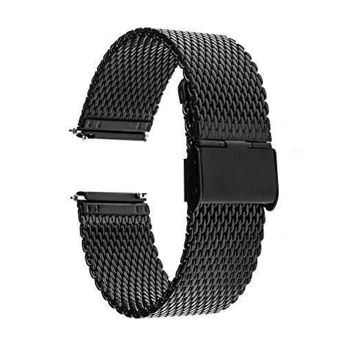 TRUMiRR 20 millimetri Milanese il cinturino a sgancio rapido in acciaio cinturino in acciaio per Samsung Gear S2 Classic (SM-R732 / R735), Moto 360 2 42mm Uomini 2015, Pebble tempo di andata e 20 millimetri