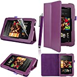 Executive PU Leather Amazon Kindle Fire HD 7 inch 2013 Case Cover Multi Function Standby Bi-Fold Stand with Built-in Magnet for Sleep / Wake Feature + Screen Protector + Capacitive Stylus Pen for New Kindle Fire HD 7-inch 2013 Tablet 16GB or 32GB - Purple