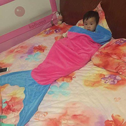 lofei Mermaid Tails Meerjungfrauen Schlafsack Decke Kind doppelt Flanell Schlafsack mit Hohe Qualität, green tail blue waist, 150x55cm