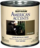 Rust-Oleum 7954730 American Accents 1/2 Pint Latex, Satin Gold Metallic