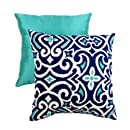 Pillow Perfect Decorative Damask Square Toss Pillow Bluewhite
