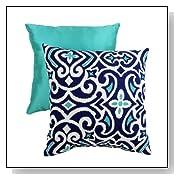 Blue Decorative Damask Square Toss Pillow