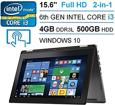 "2016 Newest Dell Inspiron 15 7000 Series 2-in-1 Premium Business Laptop, 15.6"" FHD (1920 x 1080) Touch-screen, 6 Generation Intel Core i3-6100U, 4GB RAM, 500GB HDD, Windows 10, Black"