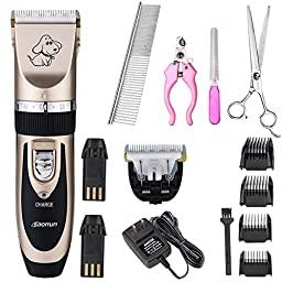 Bojafa Professional Cordless Pet Cat and Dog Hair Grooming Trimmers Clippers (Black)