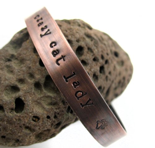 Crazy Cat Lady - Hand Stamped Antiqued Copper Bracelet