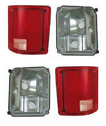 73 - 87 Chevrolet GMC Truck Taillamp Taillight No Trim Lens and Housing Pair Set 73-91 Blazer Jimmy Suburban Driver and Passenger (73 Chevy Truck Taillights compare prices)