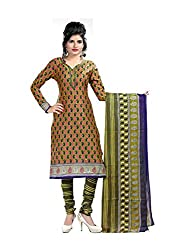 Fashionx Green cotton printed unstitched dress material