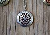 "Aromatherapy Diffuser Necklace Pendant for Essential Oils. 1.15"" Antique Silver Round Locket with Two Chains (21"" & 28"") and 5 Colored Felt Pads (Purple, White, Pink, Red & Green)"