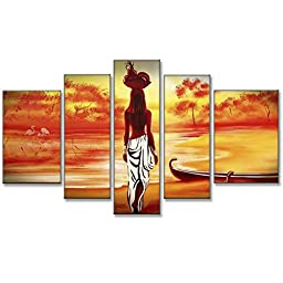 Neron Art - African Girl Landscape Oil Paintings Set of 5 Panels on Gallery Wrapped Canvas overall 56X32 inch