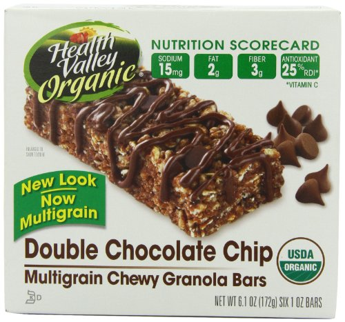 Health Valley Double Chocolate Chip Granola Bars, 6-Count Bars (Pack of 6)