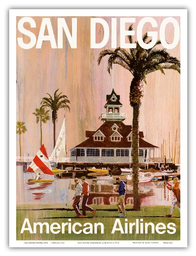 American Airlines - San Diego - California - Vintage Airline Travel Poster by V.K. c.1970 - Master Art Print - 9in x 12in