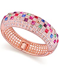 NEVI Swarovski Crystals Rose Gold Plated Kadaa Bangle Bracelet Jewellery For Women And Girls (Multi Colour)