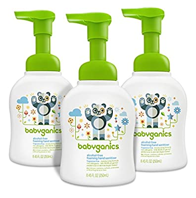 Babyganics Alcohol Free Foaming Hand Sanitizer, Fragrance Free, 8.45-Fluid Ounce Bottles, Packaging May Vary