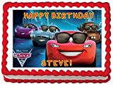 Personalised Disney Cars Edible Birthday Icing Cake Topper A4 Full (8