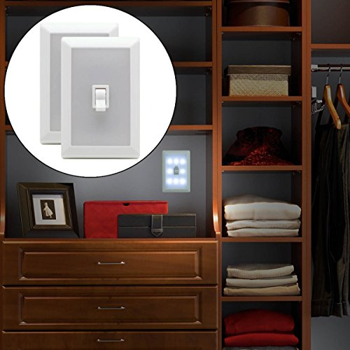 2 Light Switch Wall Nightlight 8-LED Long-Life, Mount Anywhere, Battery-Operated