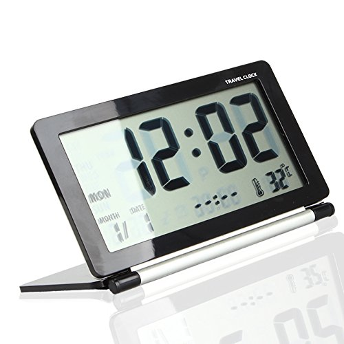 Multifunction Silent LCD Digital Large Screen Travel Desk Electronic Alarm Clock, Date/Time/Calendar/Temperature Display, Snooze, Folding (Black+Silver)