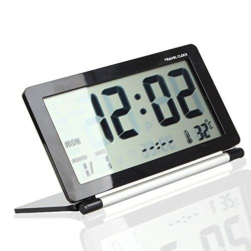 Große LCD-Anzeige Travel Desk Wecker Uhrzeit Datum Thermometer Kalender Snooze (Schwarz)