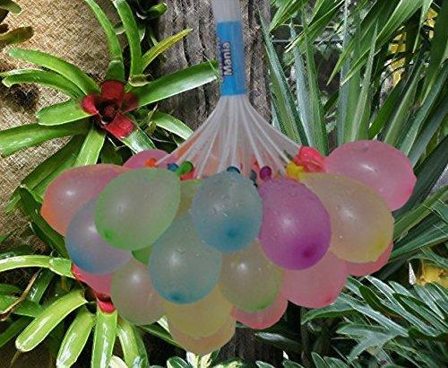 Pack de 3 manojos de globos mágicos de agua, 111 globos multicolor + 600 globos, 600 gomas y 6 agujas para reponer los manojos usados.