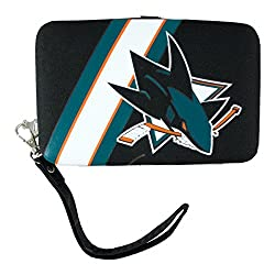 NHL San Jose Sharks Shell Wristlet, 3.5 x 0.5 x 6-Inch, Black