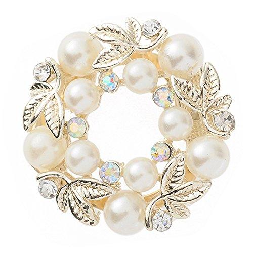 Sanwood Elegant Faux Pearl Rhinestone Scarf Ring